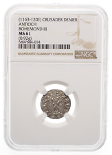 CRUSADERS, Antioch. Bohemond III Silver Denier 1163-1188 AD, NGC MS61 Mint State