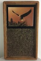 Vintage Mid Century Modern Eagle Forest Decoupage Cork Circa 1970s Wall Art