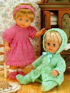 "Knitting Pattern DK Baby Dolls Clothes 12 - 22"" Dress, Headband, Matinee Set"