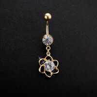 18K Gold PL Flower Cubic Zirconia Dangly Piercing Belly Button Navel Belly Bar