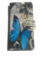 Huawel P20 Lite Blue Butterfly Design Leather Phone Cover With Strap New