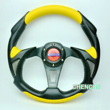 13inch Universal Racing Sport Car Steering Wheel Alloy + PU+PVC Leather Yellow