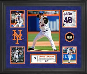 Jacob deGrom NY Mets Framed 5-Photo Collage w/ a Piece of Game-Used Baseball