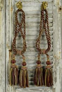 Superb Pair Antique French Chateau Curtain Tie Backs, Amazing Tassels 19th C