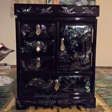 """Black Mirrored Fully Finished Lined Jewelry Box Mother of Pearl 12""""h 9""""w 5 3/4""""d"""