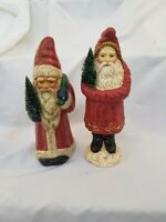 Teena Flanner(?)Midwest of Cannon Falls Primitive Vintage Style Santas lot x 2