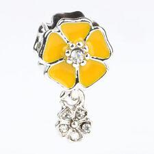 Fine Yellow Sakura CZ Pendant Dangle Bead Paint Fit European Charm Bracelet