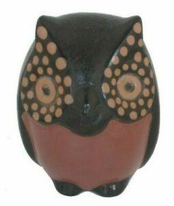Gufo portafortuna Scultura terracotta artigianato etnico Nazca Peru' 10cm