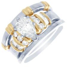 Forma Pera 14k Dos Tonos Diamante Oro Novia Set Anillos 2.00CT