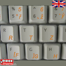 Czech Transparent Keyboard Stickers With Orange Letters For Laptop Notebook