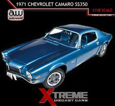 AUTOWORLD AMM982 1:18 1971 CHEVROLET CAMARO SS350 SS 350 BLUE 4 SPEED L48