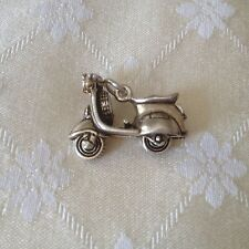 Vintage Sterling Silver Large Moped Charm
