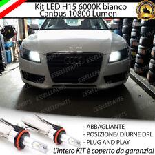 KIT FULL LED H15 AUDI A5 10800 LUMEN CANBUS NO AVARIA LUCI 6000K BIANCO