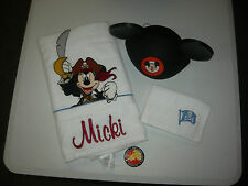 """EMBROIDERED MICKEY MOUSE  BATH TOWEL/HAND TOWEL/EARS - """"MICKI"""" PERSONALIZED"""