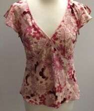 Country Casuals CC Ladies Silk Pink Floral Frill Cap Sleeved Top Size 10 Beaded