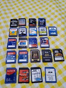 22 SD Card lot Mixed SanDisk sizes - 32gb, 1gb, 2gb, 4gb, 8gb, 64mb, 16mb, 8mb