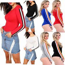 Womens Long Sleeve Leotard Jersey Black White Red Rib Sports Stripe Bodysuit Top