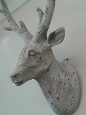 Ivory/grey Colour Shabby Chic Style Deer Stag Head Wall Mounted Decor