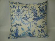 French Toile Blue and White Accent Decorative Pillow Cover 14x14