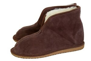 Womens Mens Unisex Suede Leather Sheep's Wool Linning Flat Sole Slippers Boots