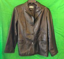 CLIO Black Leather Lined Jacket Coat Size Medium