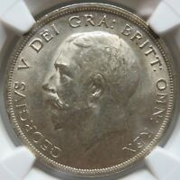 GREAT BRITAIN silver 1/2 Crown 1919 NGC AU 58 UNC George V.