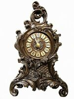 Bronze Plate Quartz Mantel Clock Ornate Vintage Antique Gift Floral Veronese