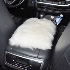 White Car Sheepskin Wool Center Console Armrest Cover Wool Soft Mat Pad Cushion