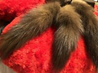 Vintage Women's Beautiful Long Brown Scarf Mink Tails