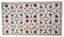 3'x2' White Marble Dining Table Floral Mosaic Inlay Outdoor Furniture Decor W249