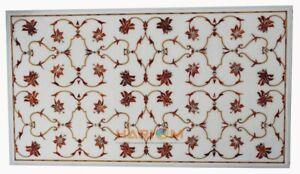3'x2' Marble Dining Table Top Carnelian Fine Floral Inlay Art Hallway Decor W249