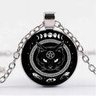 "BLACK CAT PENTAGRAM WICCA  pendant 20"" Sterling Silver 925 necklace HALLOWEEN"