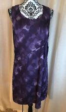 NWT $78 Simply Vera Wang Purple Paint Abstract Silky Poly Ruched Sheath Dress 6