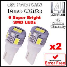 2 x 6 SMD LED Pure White LED 501 T10 W5W Interior Light bulbs - SUPER BRIGHT