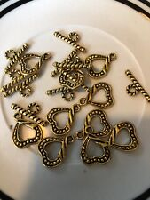 10. 14mm Gold Heart Toggle Bali Style Pewter Clasps (bar 19mm) SALE #25