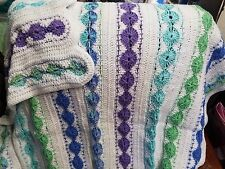 New! Handmade Crochet Blanket Throw Afghan -42x50 - white, purple, blue, teal
