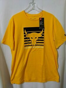 NWT Under Armour x Project Rock Brahma Bull Mens Shirt Yellow Sz L 1321412 750