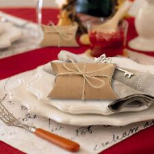 50Pcs Gift Boxes Vintage Natural Kraft Paper Pillow Box Wedding Party Candy Box