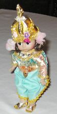 "Madame Alexander Blue-Green 8"" Thialand Doll of World Multicolor w Hat & Box"