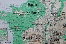 L721 Ancienne Carte scolaire FRANCE Relief sol montagne fleuve 3 deco industriel