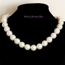 Elegant Beautiful Cream White Faux Pearl Necklace Chain