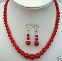 """Natural 6-14mm Red Ruby Gemstone Round Beads Necklace Earrings Set 18"""""""