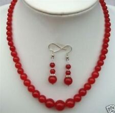 """6-14mm Red Ruby Round Beads Necklace Earrings 18"""""""