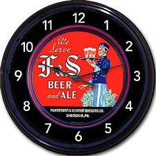 F&S Fuhrmann & Schmidt Brewing Co Beer Tray Wall Clock Shamokin PA Ale Brew