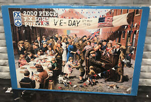 F.X. Schmid Puzzle STREET PARTY VE DAY! by Kevin Walsh 2000 Pieces 1998 Vintage