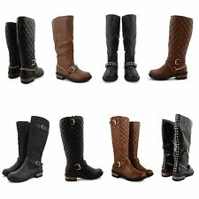 Unbranded Women's 100% Leather Block Mid-Calf Boots