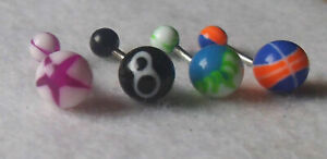 4 Pretty Mixed Designs Belly Bars Button Navel Rings Body Piercing - UK Seller