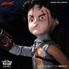 """Mezco Living Dead Ash 2 10"""" Doll Chainsaw Evil Dead Movie Necronomicon Book Army"""
