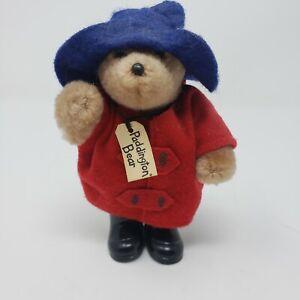 "Eden Toy Paddington Bear Vintage 5"" 1987 Poseable Figure Blue Hat Red Coat"