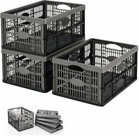 32 L / LITER FOLD ABLE FOLDING FLAT PLASTIC STORAGE BOX CONTAINER BASKET CRATES